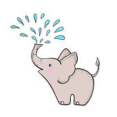 Cute hand drawn elephant with a spray of water.