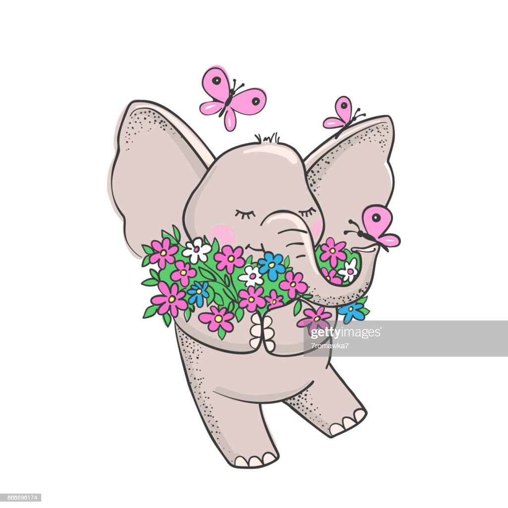Cute hand drawn elephant with flowers.