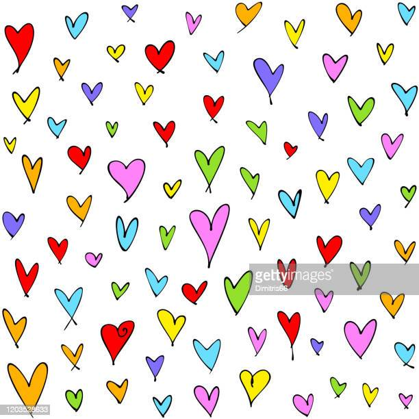 cute hand drawn multi colored hearts seamless pattern. mother's day, birthday card, wallpaper or gift wrap design. - mothers day text art stock illustrations