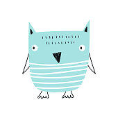 Cute hand drawn nursery poster with cool blue owl animal in scandinavian style. Kids vector illustration