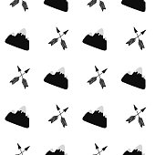 Cute hand drawn nursery seamless pattern in scandinavian style with mountains and arrows. Monochrome vector illustration.