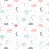 Cute hand drawn seamless pattern with smiling clouds and moon with stars. Funny weather theme. Kids background