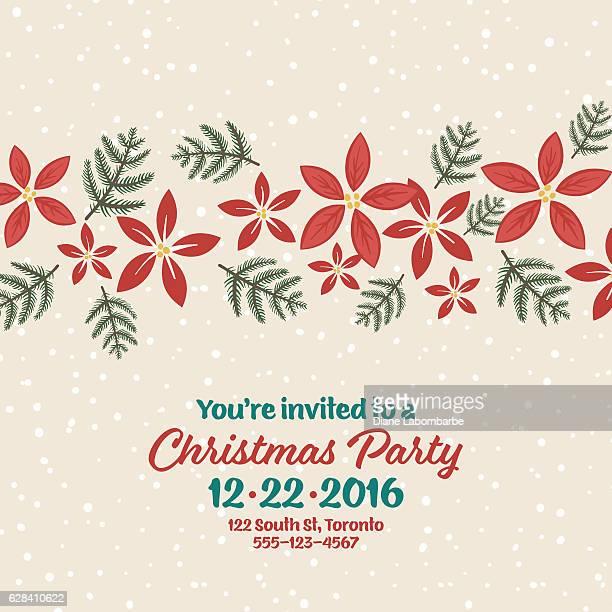 ilustraciones, imágenes clip art, dibujos animados e iconos de stock de cute hand drawn seasonal christmas background - flor de pascua