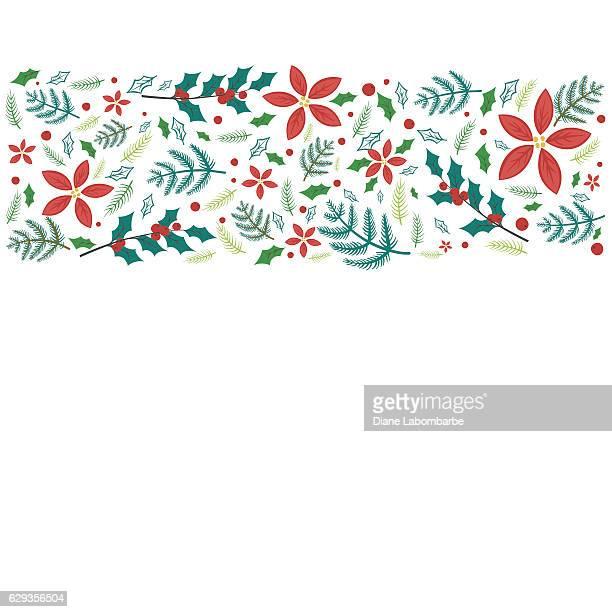 illustrations, cliparts, dessins animés et icônes de cute hand drawn seasonal christmas background - houx