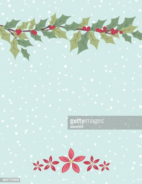 stockillustraties, clipart, cartoons en iconen met schattig hand drawn seizoensgebonden kerstmis achtergrond - twijg