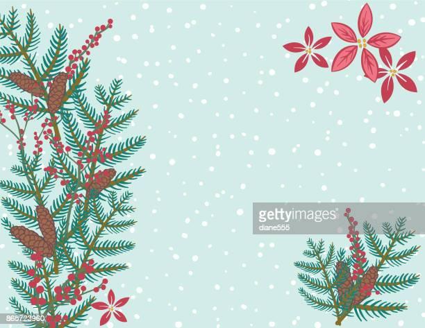 niedliche handgezeichnete saisonale weihnachten hintergrund - tannenzweig stock-grafiken, -clipart, -cartoons und -symbole