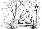 cute hand drawn style couple sitting on bench