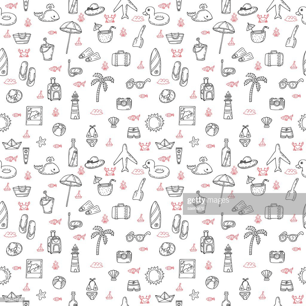 Cute hand drawn summer theme seamless pattern. Beach theme