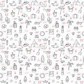 Cute hand drawn summer theme seamless pattern. Beach theme