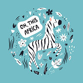 Cute hand drawn zebra character with decorative floral elements. Travel greeting card, print for t-shirts