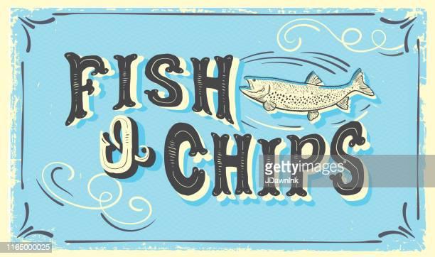 かわいい手の文字の魚n'チップスは、魚とテクスチャのロットのサイン - 魚介類点のイラスト素材/クリップアート素材/マンガ素材/アイコン素材