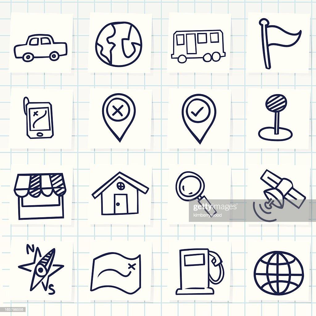 Cute hand-drawn navigator icons