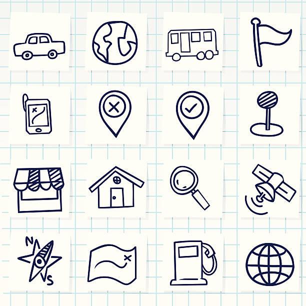 cute hand-drawn navigator icons - pencil drawing stock illustrations