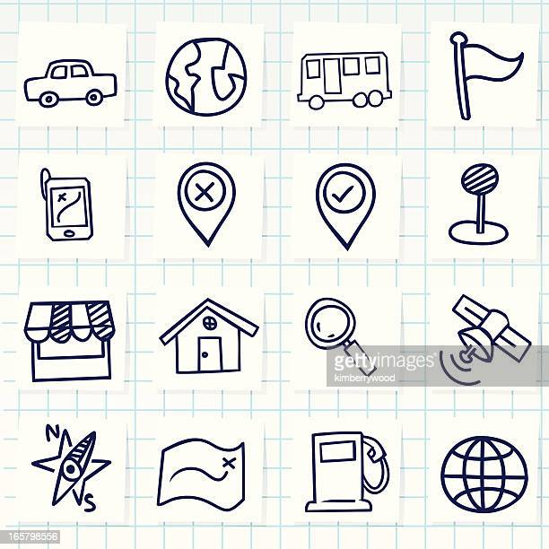 cute hand-drawn navigator icons - pencil drawing stock illustrations