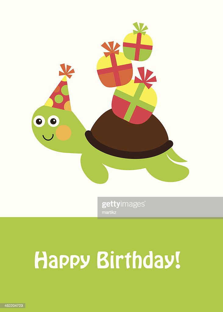 Cute Happy Birthday Card With Fun Turtle Vector Art Getty Images