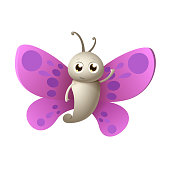 Cute happy Butterfly smile and wave - vector illustration