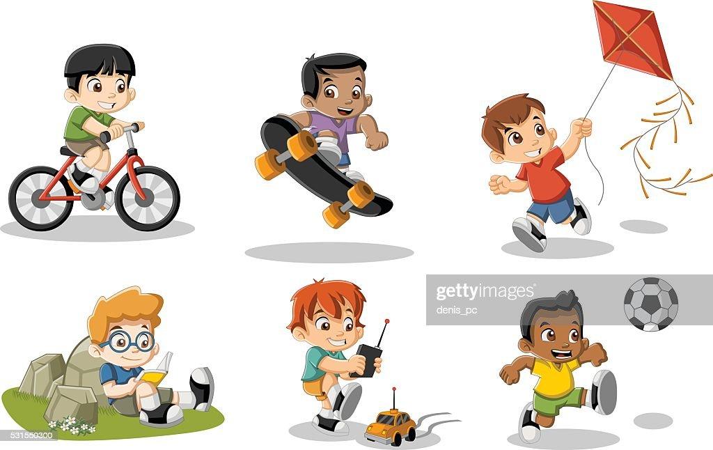 Cute happy cartoon boys playing