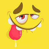 Cute happy cartoon monster face with big eyes showing tongue. Vector Halloween yellow monster