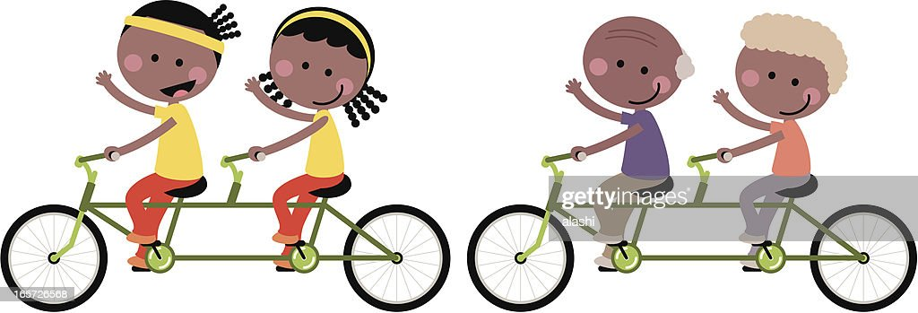 Cute Happy Couple Family Cycling Tandem Bicycle : stock illustration