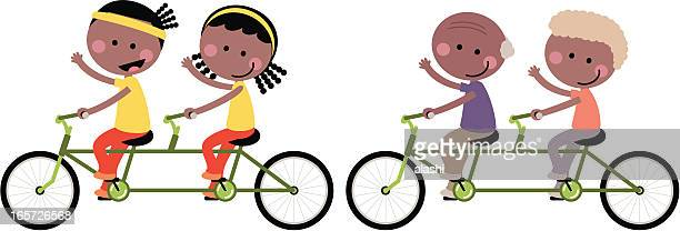 cute happy couple family cycling tandem bicycle - family cycling stock illustrations, clip art, cartoons, & icons