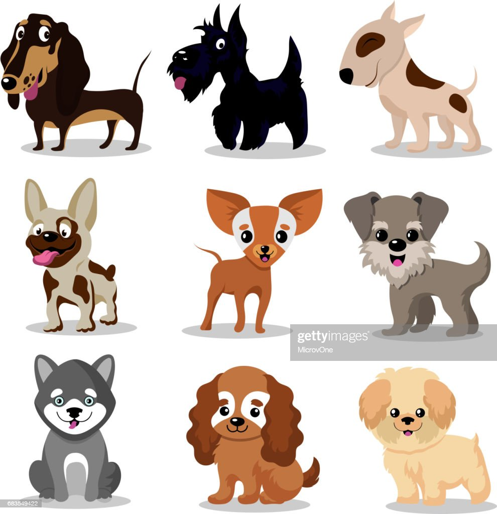 Cute happy dogs. Cartoon funny puppies vector characters collection