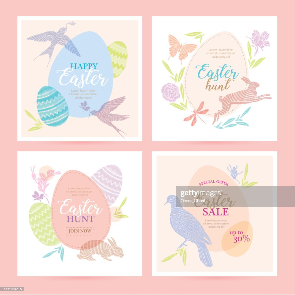 Cute Happy Easter templates with eggs, flowers, rabbit, dove and typographic design