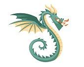 Cute Happy Flying Dragon Illustration