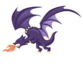 Cute Happy Flying Purple Dragon Illustration