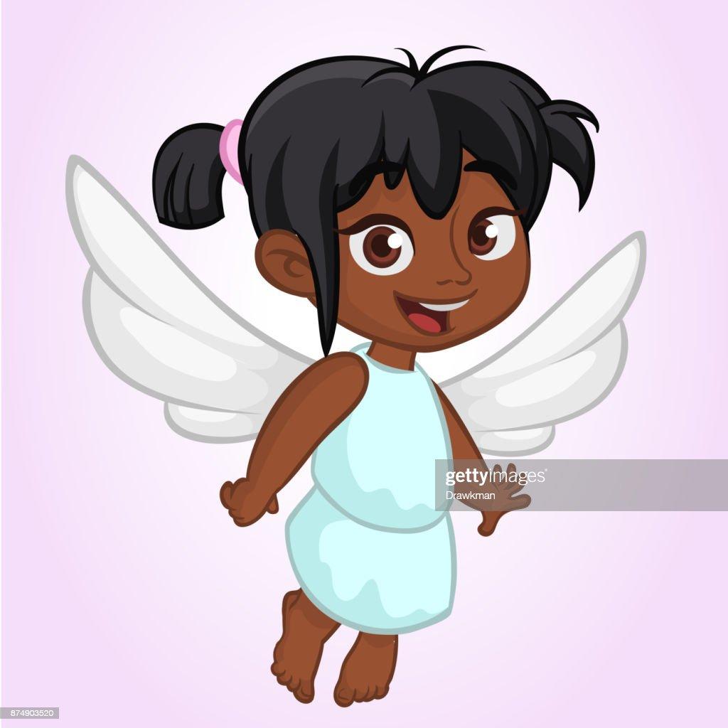 Cute Happy Girl Arab Or Indian Girl Angel Character Vector