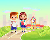 Cute happy little kids with backpacks and books on school building background.Cartoon children characters,Light and sunny vector illustration. Colorful text back to school