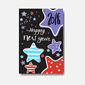 Cute Happy New Year 2018 Card Doodle Design Winter Holiday Poster