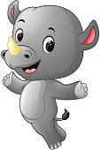 cute happy rhino jumping