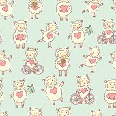 Cute happy sheep pattern