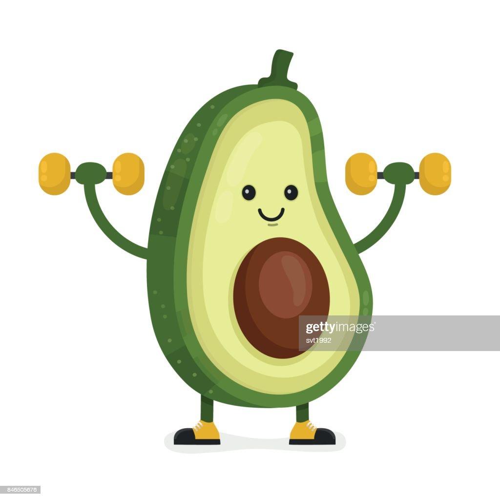 Cute happy smiling avocado vector