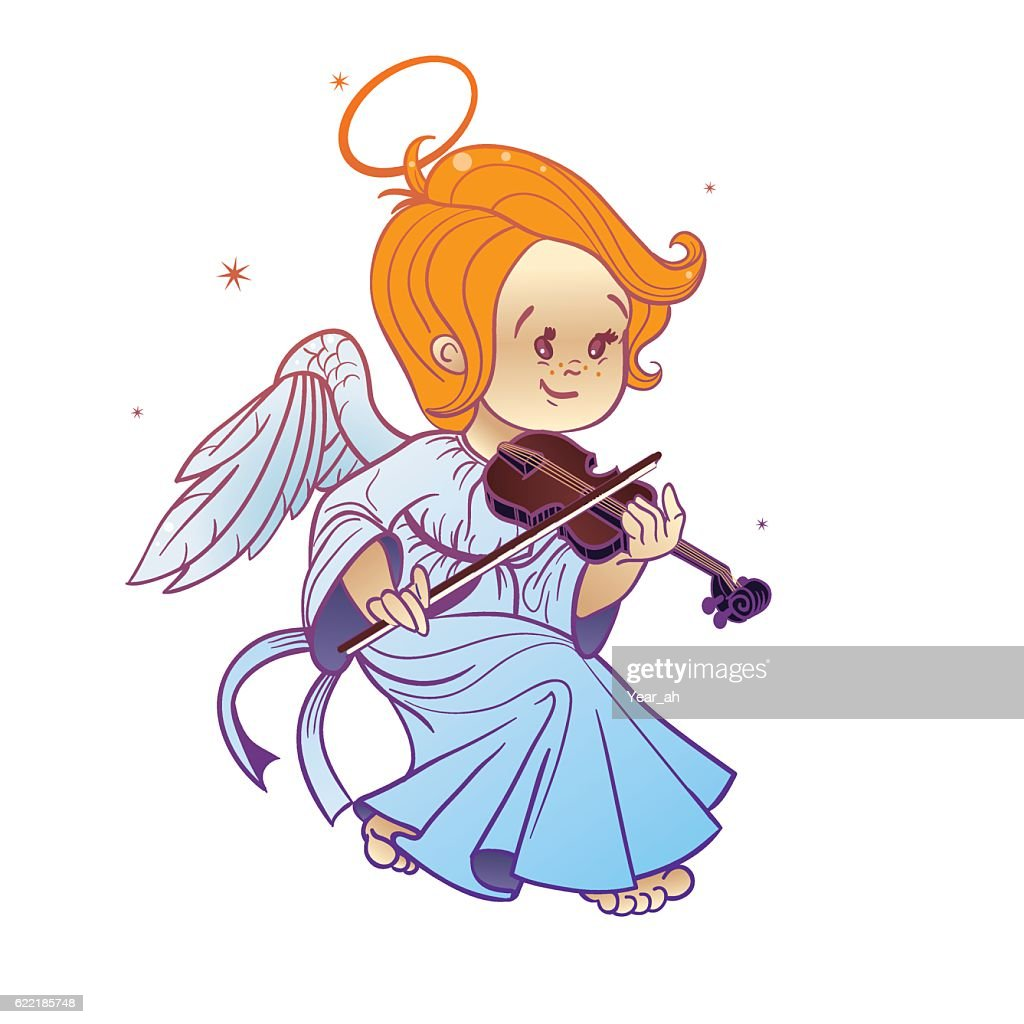 Cute happy smiling Christmas  baby angel playing violin