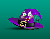Cute happy smiling witch purple hat and scary funny spider on cobweb on dark green background. Halloween icon or object