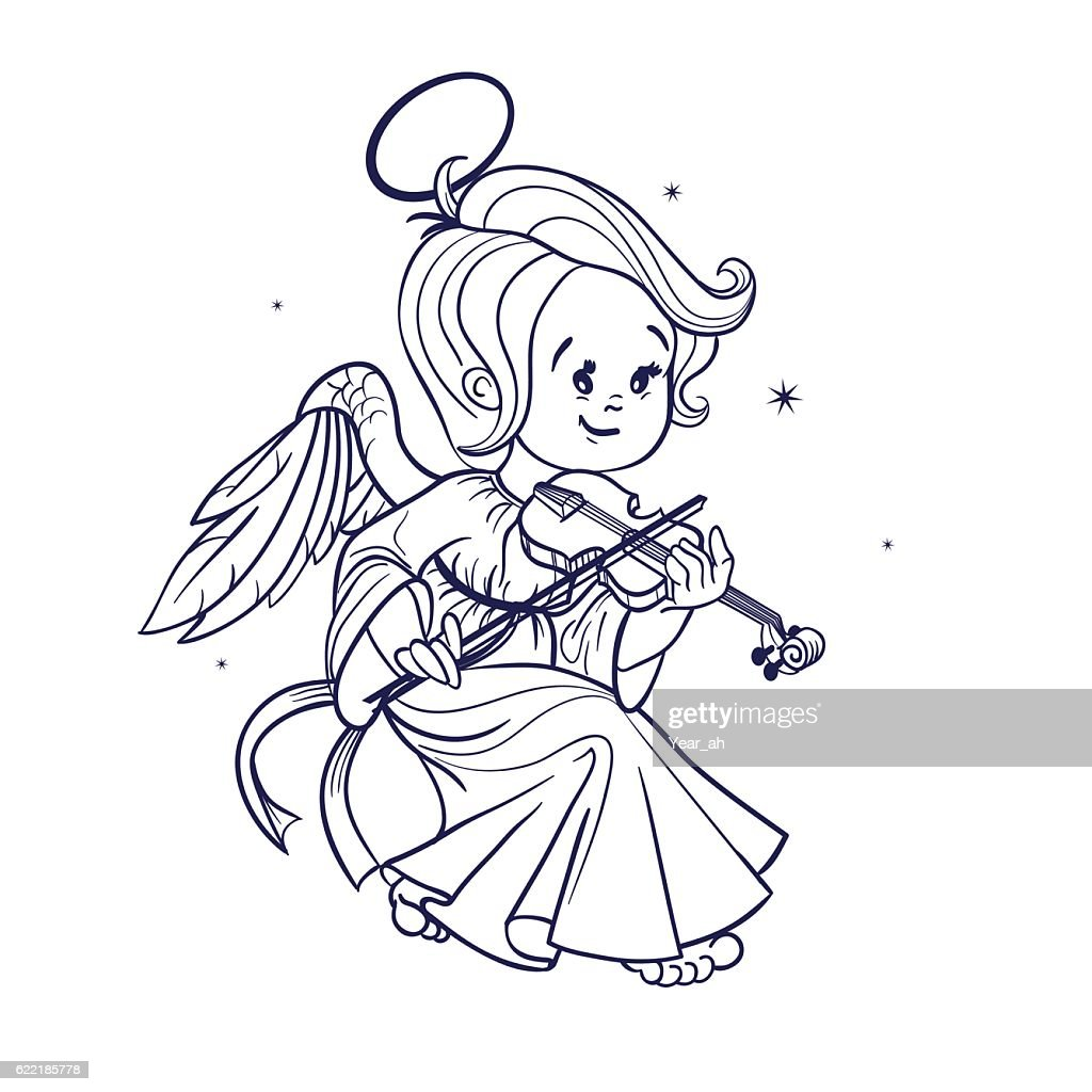 Cute happy smilingy Christmas baby angel playing violin