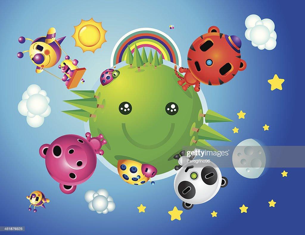 Cute Happy World Animals Characters