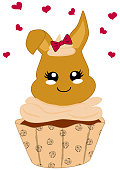 cute hazelnut cupcake with bunny in kawaii style.