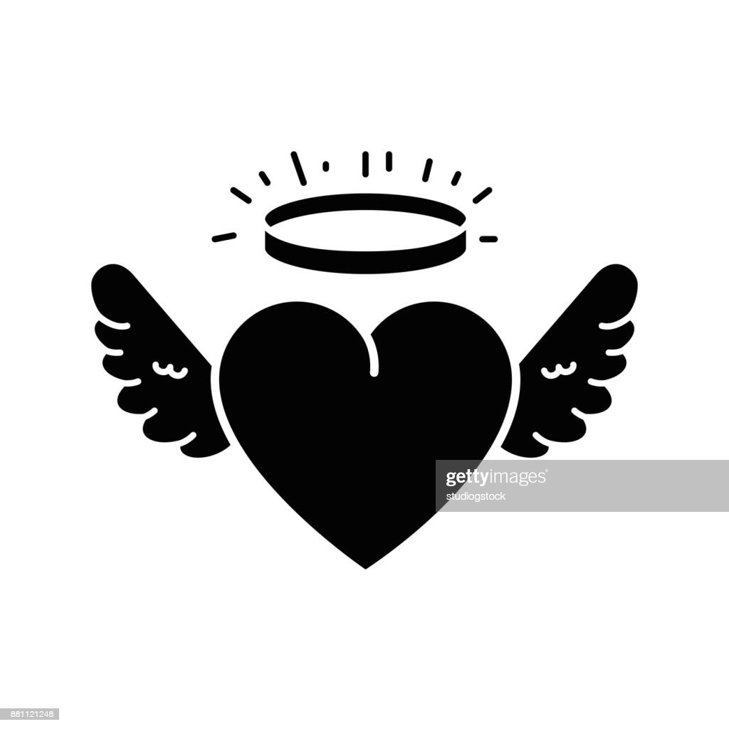 cute heart with wings and halo