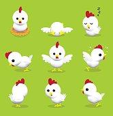 Cute Hen 3D Cartoon Character Poses