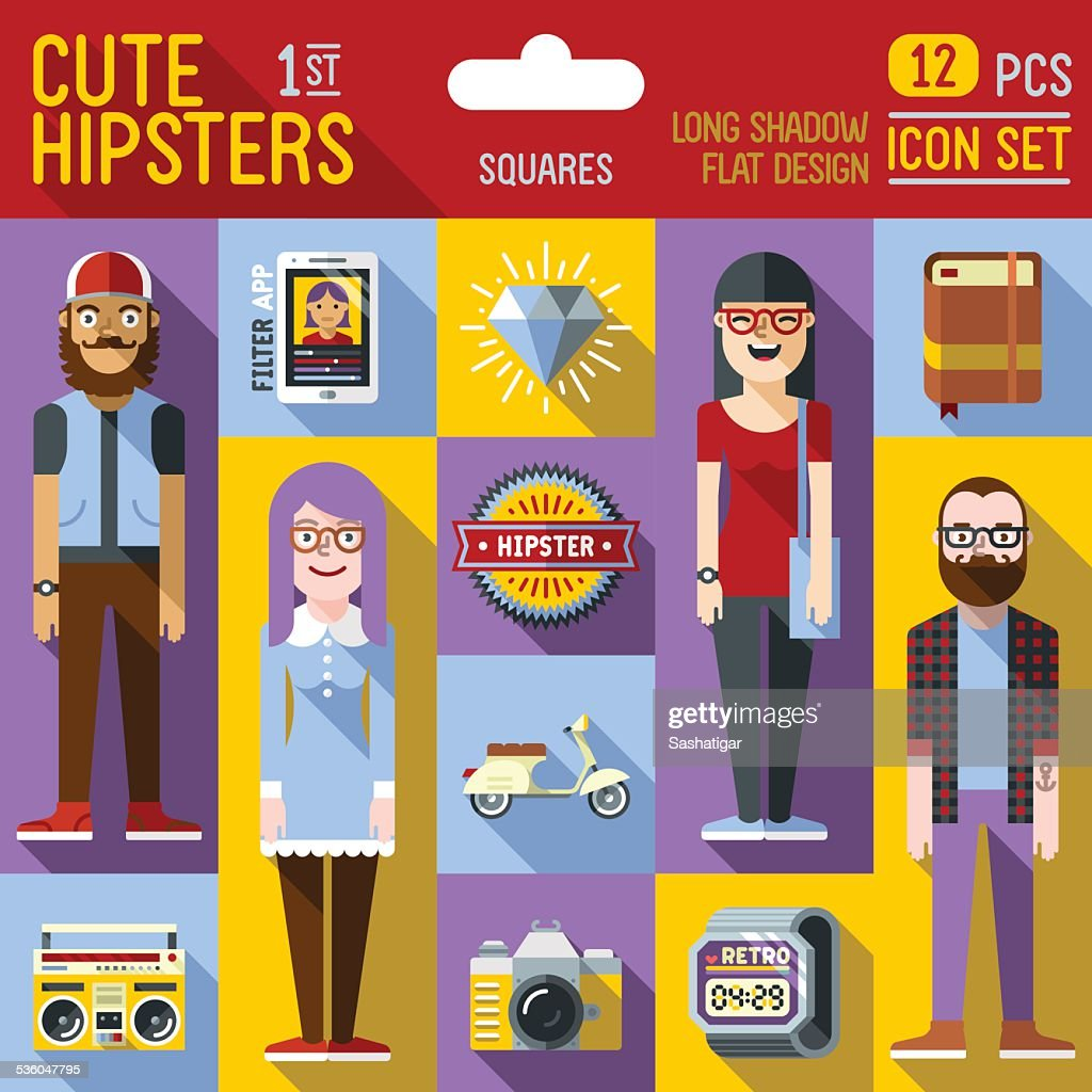 Cute hipster looks vector illustrations squares 1st icon set.