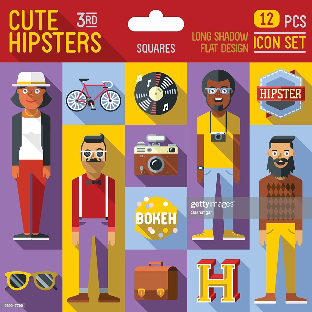 Cute hipster looks vector illustrations squares 3rd icon set.