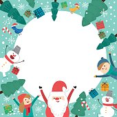 Cute holiday background with boys and girls. Merry Christmas card