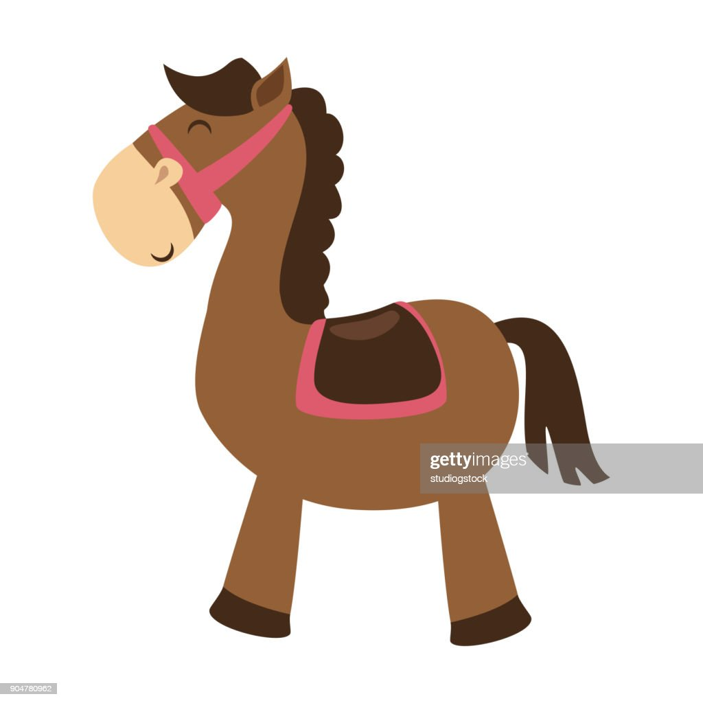 cute horse toy isolated icon