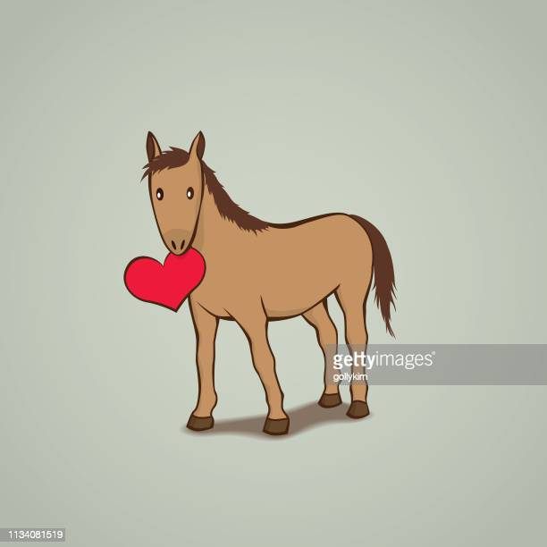 cute horse with a red love heart - horse family stock illustrations, clip art, cartoons, & icons