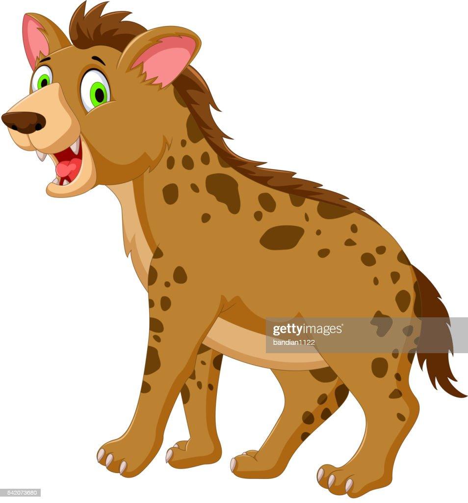 cute hyena cartoon posing look at camera
