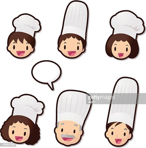 ilustrações, clipart, desenhos animados e ícones de linda ícone set (emoticons): chef família (com serviço de alimentação - chef de cozinha