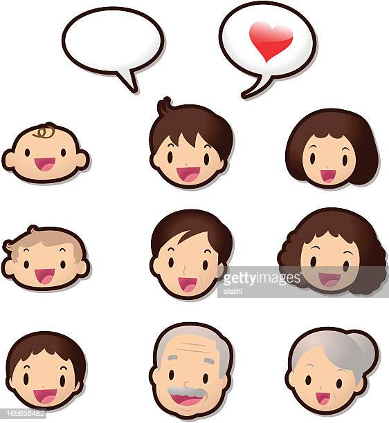 Süße-Icon-Set (Emoticons)-Hallo Familienmitgliedern (Love