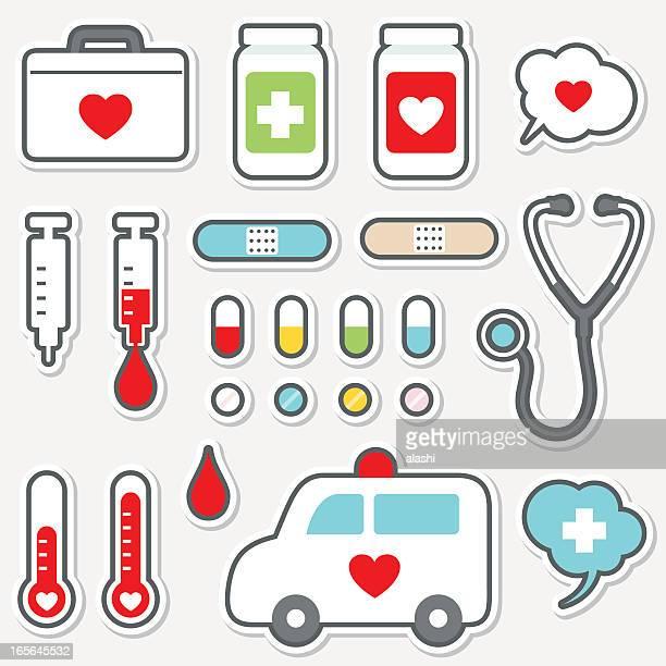 かわいいアイコンセット-薬と健康管理(医療) - 救急車点のイラスト素材/クリップアート素材/マンガ素材/アイコン素材